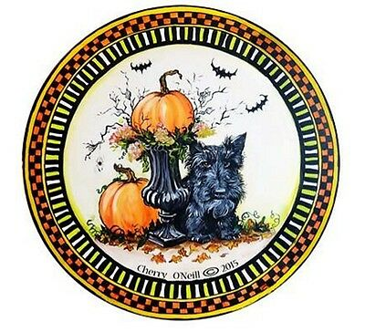 Scottish Terrier Ceramic Halloween Ornament Grumpy Scottie and Pumpkins