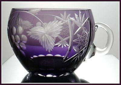 AMETHYST PURPLE PLUM Punch Cup Glass CUT TO CLEAR CRYSTAL Germany TRAUBE Grapes
