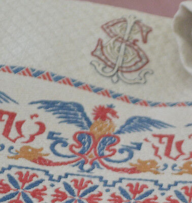 "Pair Of Magnificent German Show Towels With Embroidered Griffins ""Es"" Mono Rr198"