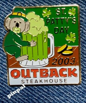 Outback Steakhouse hat lapel pin ~ St. Patty's Day 2003