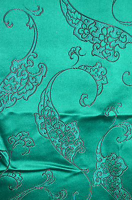 Hong Kong Silk - Stunning Vintage Brocade In Emerald And Black Rr255