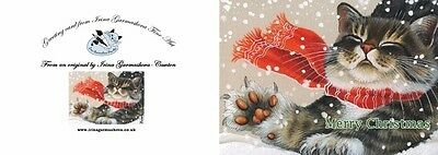 Cat Christmas Card Frosty Morning Art by Irina Garmashova