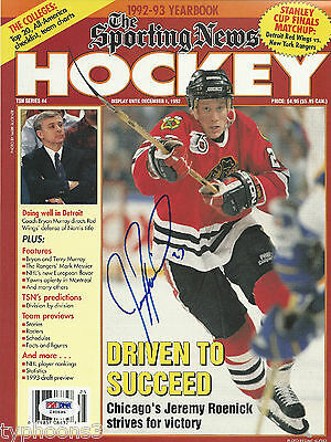 JEREMY ROENICK Signed 92-93 SPORTING NEWS Magazine with PSA/DNA COA (NO Label)