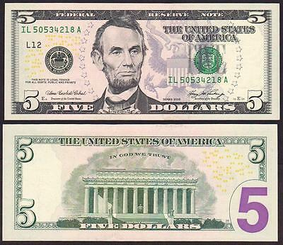"USA 5 Dollars 2006 Series "" L "" UNC P 524 Serie L"