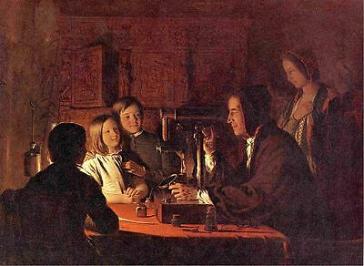 Oil painting Robert Walter Weir The Microscope happy family with children canvas