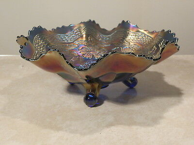 """Delightful Fenton 1915 Two Flowers Blue Carnival 11"""" 3 Footed Bowl Great Colors"""