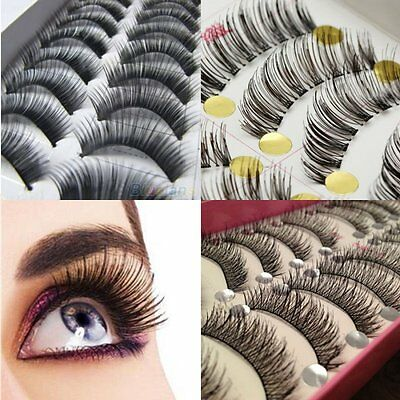 10 Pairs Makeup Handmade Natural False Thick Eyelashes Long Eye Lashes Extension