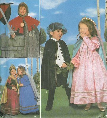 OOP Kids Renaissance Princess Knight PATTERN Simplicity 8318 costume cape dress