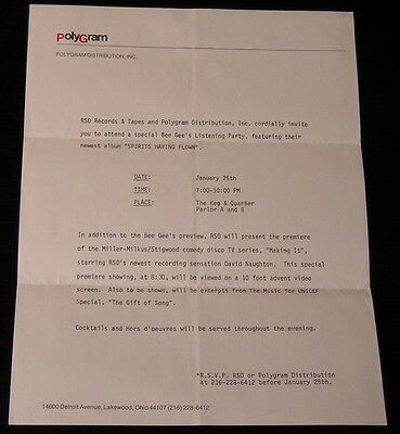 Bee Gees-Spirits Having Flown-1979 Cleveland Party-RSO Records Invitation Letter