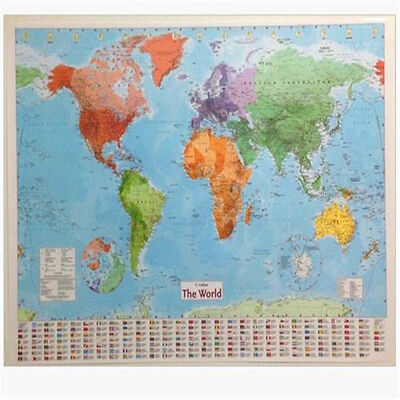FD3189 LARGE MAP OF THE WORLD Wall Chart Political Flags Poster Home Art 98CM ☆