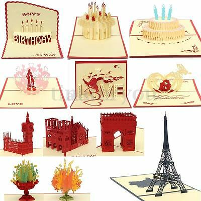3D Pop Up Greeting Card Birthday Happy Valentines' Day New Year Christmas Gift