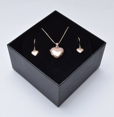 Quality Rose Gold over 925 Sterling Silver Locket Pendant & Earring Set-BOXED