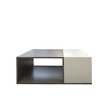 Symbiosis 2300A0100X00 Contemporain Table Basse Bivolume Blanc/Taupe 89 NEUF