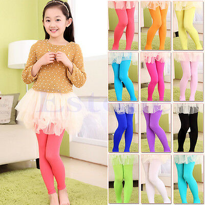 New Girls Children Winter Warm Velvet Leggings Solid Candy Color Pants Trousers