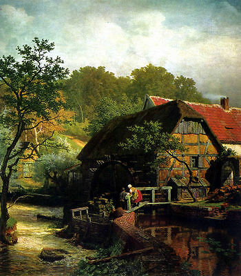 Oil painting andreas westphalian achenbach mill cottage house by river landscape