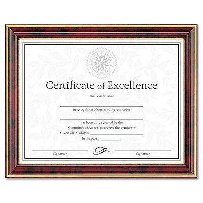 """DAX Gold-Trimmed Document Frame W/certificate, Wood, 8.5 X 11, Mahogany"""