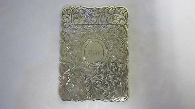 Antique Solid Sterling Silver Visiting Card Case Flowers T Dones Birm. 1855