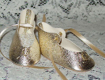 """Handmade Leather Doll Shoes ~ German Style ~ For 3 1/4"""" ~ Textured Metallic Gold"""