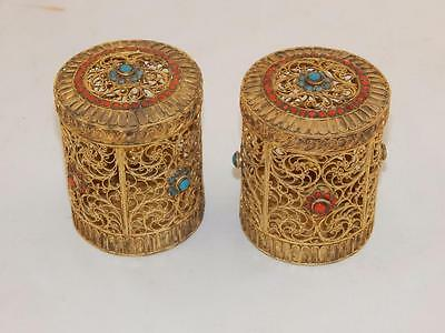 1890 Unusual Pair of  Gold Vermeil Silver Chinese Tea Caddies With Jewels