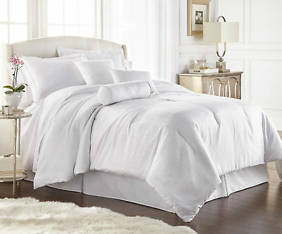 Chezmoi Collection 7-pc Hotel Solid Dobby Stripe Comforter Set Cal King, White