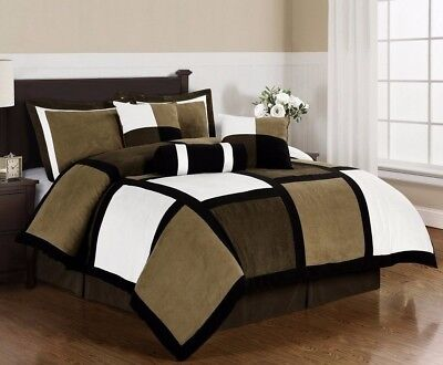 Micro Suede Black Brown White Patchwork 7-Piece Comforter Set, Cal King