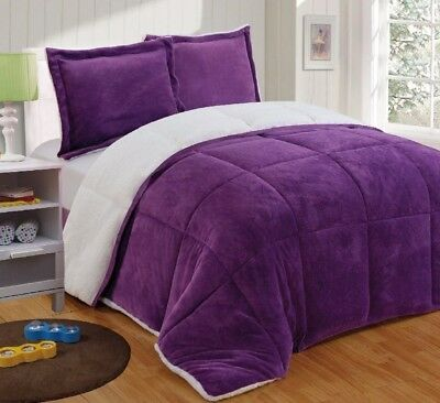 Chezmoi Collection 3pc Micromink Sherpa Down Alternative Comforter Queen, Purple