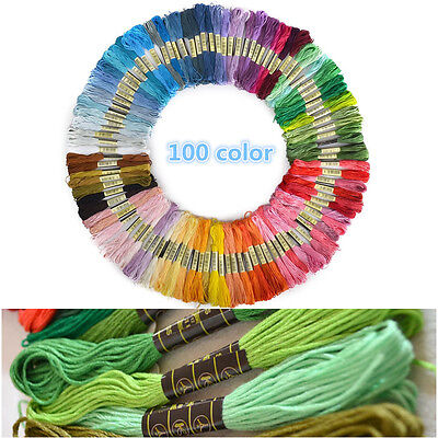 New 100pcs Cotton Embroidery Thread Cross Stitch Floss Sewing Skein Threads