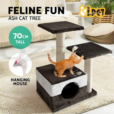 i.Pet Cat Scratching Tree Scratcher Pole Furniture Gym House Toy Small 70cm Grey