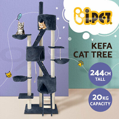 i.Pet Cat Scratching Tree Post Scratcher Pole Furniture Toy MultiLevel 244cm