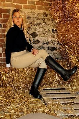 Rhinegold kentucky long leather horse riding boots, black.