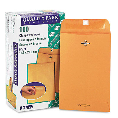 """Quality Park Clasp Envelope, 6 x 9, 28lb, Light Brown, 100Box, BX - QUA37855"""