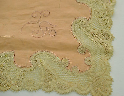 Very Fine Vintage Antique Salmon Linen Table Mat Cover With Handmade  Lace Rr283