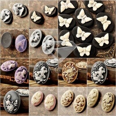 Vintage Cameo Resin Cabochons Oval Flower Butterfly Animal Multi-Colour U Choose