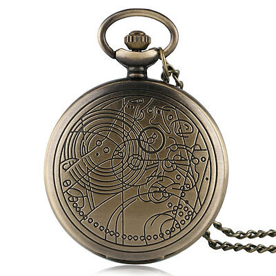 Xmas Doctor who Bronze Retro Compass Pattern Quartz Gifts Pocket Watch Chain