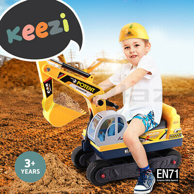 Keezi Kids Ride On Car Digger Toy Sand Excavator Children w/ Helmet