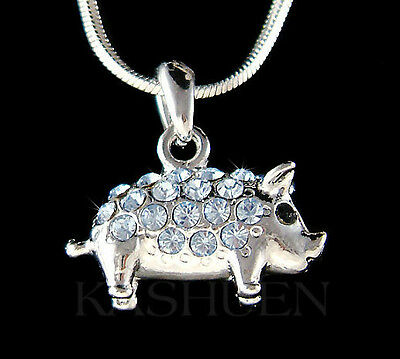~Blue 3D Piggy made with Swarovski crystal Double sided Cute Pig Piglet Necklace