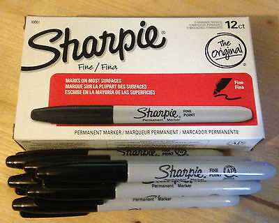 Sharpie Fine Point Permanent Marker Black Pick your Qty, 1 2 3 4 6 or 12