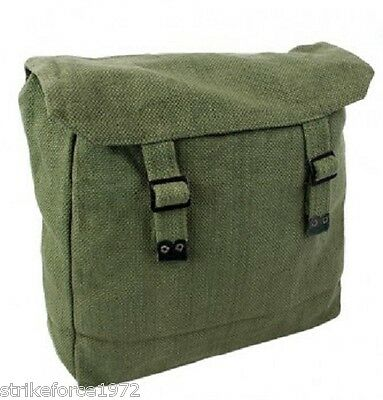 Retro Style Large Dark Olive Green Canvas Army Webbing Haversack Backpack