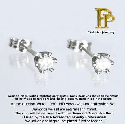 0.25 ct G / VVS2 Round Cut Earth Mined Diamond Pair Stud Earrings 18K Solid Gold
