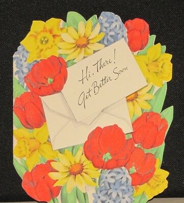 VTG Greetings Inc. card 1950s Get Well Soon Beautiful Bouquet of Flowers
