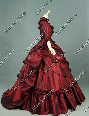 Victorian Layered French Bustle Masquerade Gothic Ball Red Christmas Gown 330