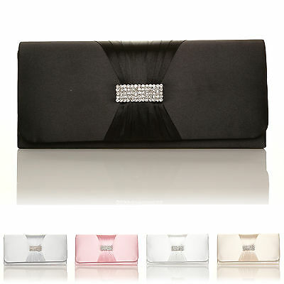 New Womens Bridal Satin Bride Stone Gem Diamante Clutch Bag Prom Party
