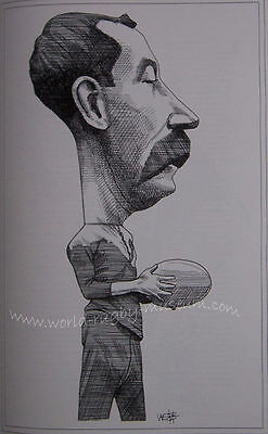 "DAVE GALLAHER NEW ZEALAND ALL BLACK CARICATURE PRINT 16x12"" (41x30cm) UNFRAMED"