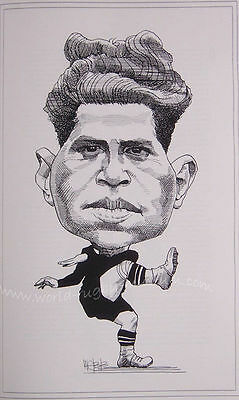 "GEORGE NEPIA NEW ZEALAND ALL BLACK CARICATURE PRINT 16x12"" (41x30cm) UNFRAMED"