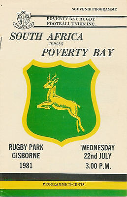 SOUTH AFRICA 1981 RUGBY TOUR PROGRAMME v POVERTY BAY 22 Jul at Gisborne