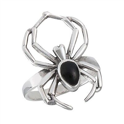 Cool Sterling Silver Spider Ring with Black Onyx