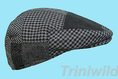 Flat Cap Grey Wool Herringbone Chequered Patch Style