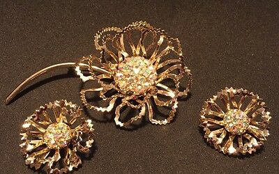 Vintage Flower Brooch & Earrings Set AB Rhinestone Gold Antique STAMPED Jewelry