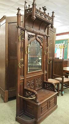 Monumental French Antique Walnut Gothic Hall Rack - Gothic Furniture