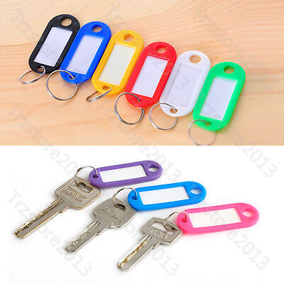 Stylash 100 Pcs Key ID Labels Tags Chain with Key Ring Split Rings Color Random